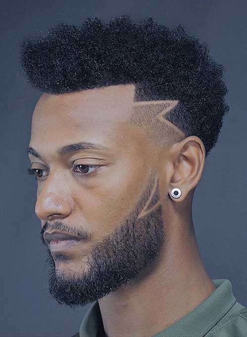black men haircuts with design 1